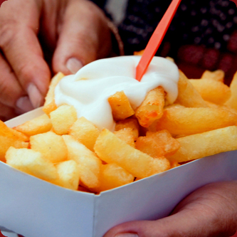 Belgian fries with mayonnaise.. ( so not diet friendly, but the ...